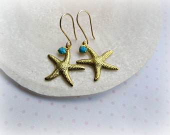 Gold Starfish earrings,  Vintage Turquoise Swarovski earrings, Beach earrings, Sea Life earrings