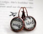 Song Bird Earrings / Vintage Book / Word Earrings / Secret Garden