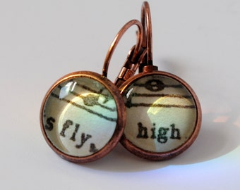 Fly High Earrings, Inspirational Words, Free As a Bird, Vintage Sheet Music, Motivational, Be You, Copper Earrings