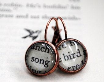 Song Bird Earrings, Vintage Book, Word Earrings, The Secret Garden, Book Lover Gift, Music Gift, Literary Jewellery