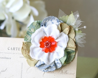 Fabric Flower Hair Clip, Floral Barrette, Bride Hairpiece, Gift for Girls, Flower Girl Hair Clip, Colorful Hair Flower, Button Barrette