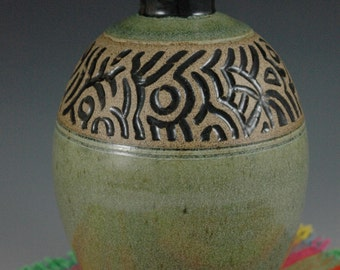 Green Stoneware Decorative Art Vase  Bottle with carving.
