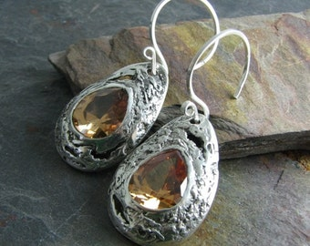 On Sale, Meteor Series No. 9, PMC Artisan Jewelry, Fantastically Textured Handmade Earrings, One of a Kind