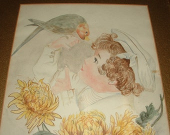 Vintage Framed Original Watercolor - Boy with Parrot  - Signed