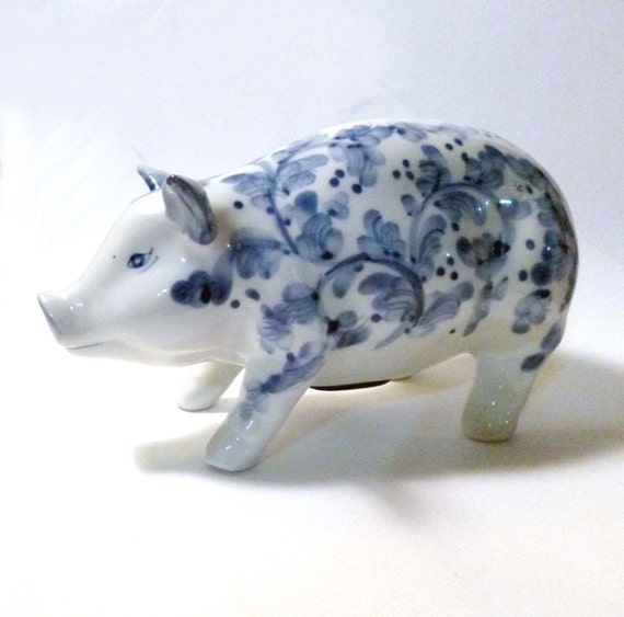 Vintage Blue And White China Piggy Bank