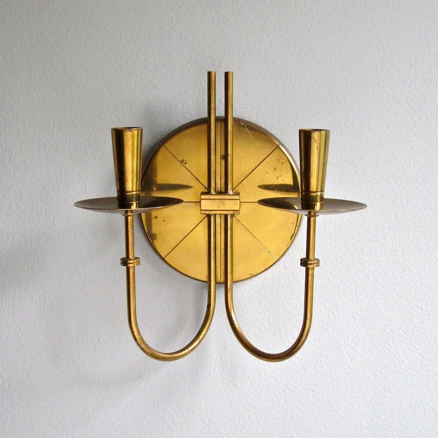 Tommi Parzinger Brass Candle Wall Sconce 1950s Mid Century