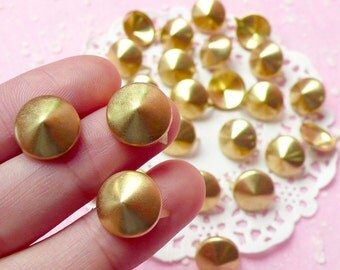 Rivet / GOLD Metal ROUND Rivet Studs 12mm (around 30pcs) for Leather Craft / Jean Button, etc RT28