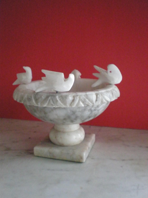 Petite Marble Bird Bath Pedestal Bowl Italian