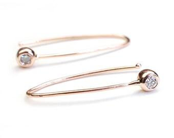 Diamond Earring, Diamond Bar Earring, Rose Gold Earring, Modern Diamond Earring, Minimal Diamond Earring, Gold Diamond Earring, Nixin
