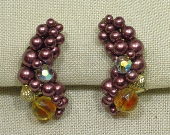 Bright Pink Hand Beaded Crescent Shaped Clip On Earrings 1960s NEW OLD STOCK cSc 229