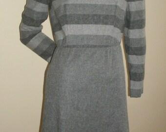 Late 70s Vintage Frances Heffernan Jerry Silverman gray striped dress and jacket suit set M