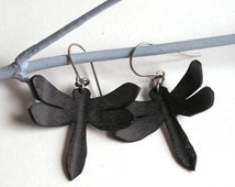 Dragonfly Silhouette Earrings - eco friendly recycled bike inner tube - black dragonflies