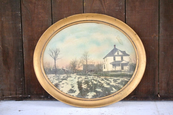 Large Antique Framed Oval Photograph of an Old House - Hand Colored - In Large Gold Oval Frame