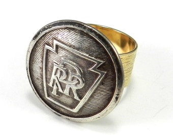 Steampunk Ring, Vintage Railroad Uniform Button Ring, Pennsylvania Railroad, Etched Gold, Steampunk Jewelry by Compass Rose Design