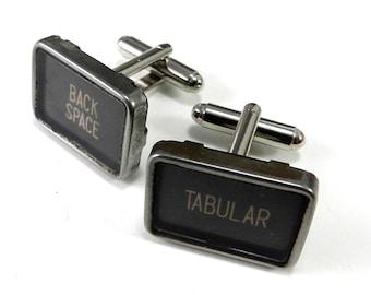 Typewriter Cufflinks BACK SPACE TABULAR key Square Vintage Typewriter Cuff Links - Larger Size