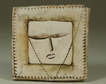 Ceramic Tile (O), 4x4, One of a Kind, Finished with Oxides, Wall Hanging