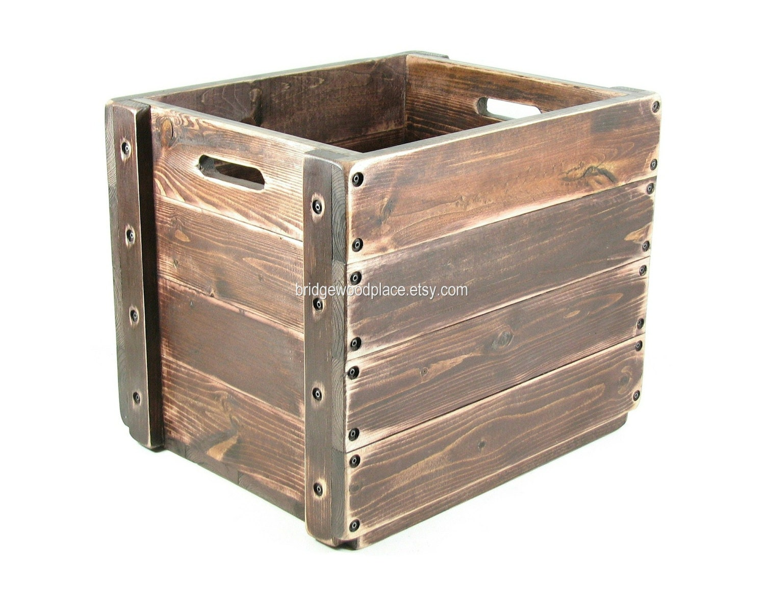 Large Wood Crate Wooden Box Tote Carryall By Bridgewoodplace