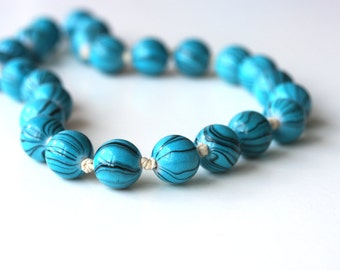 Turquoise blue necklace - black striped blue beaded necklace - spring summer mothers day gift