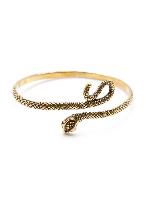 Gold Snake Bracelet Black Uncut Diamond Womens Cuff