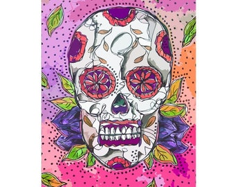Simple Sugar Skull Clip Art Day of the dead pink art print