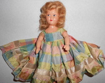 Bisque & Celluloid Doll Shirley Temple Look-A-Like Pretty Plaid Dressed Finger-Waved Blond Haired 40s Era