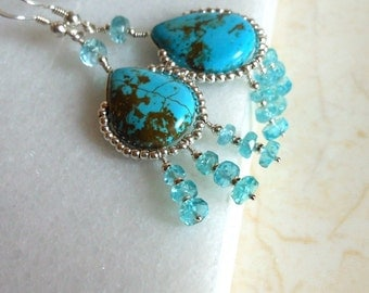 Turquoise Apatite Sterling Silver Chandelier Style Earrings