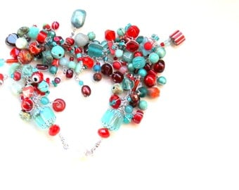 Red Turquoise mint Wonder / beaded bracelet / red garnet gemstones / turquoise teal gemstones / cathedral beads / wire wrapped OOAK gift