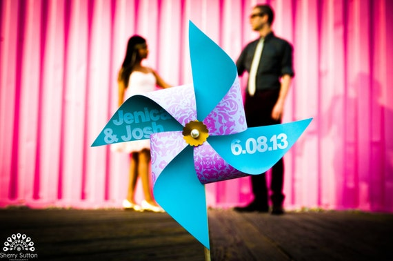 "Pinwheel Engagement Photo ""Save the Date"" Prop"