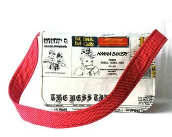 OOAK Vintage newspaper Messenger bag,shoulder bag,Valentines day