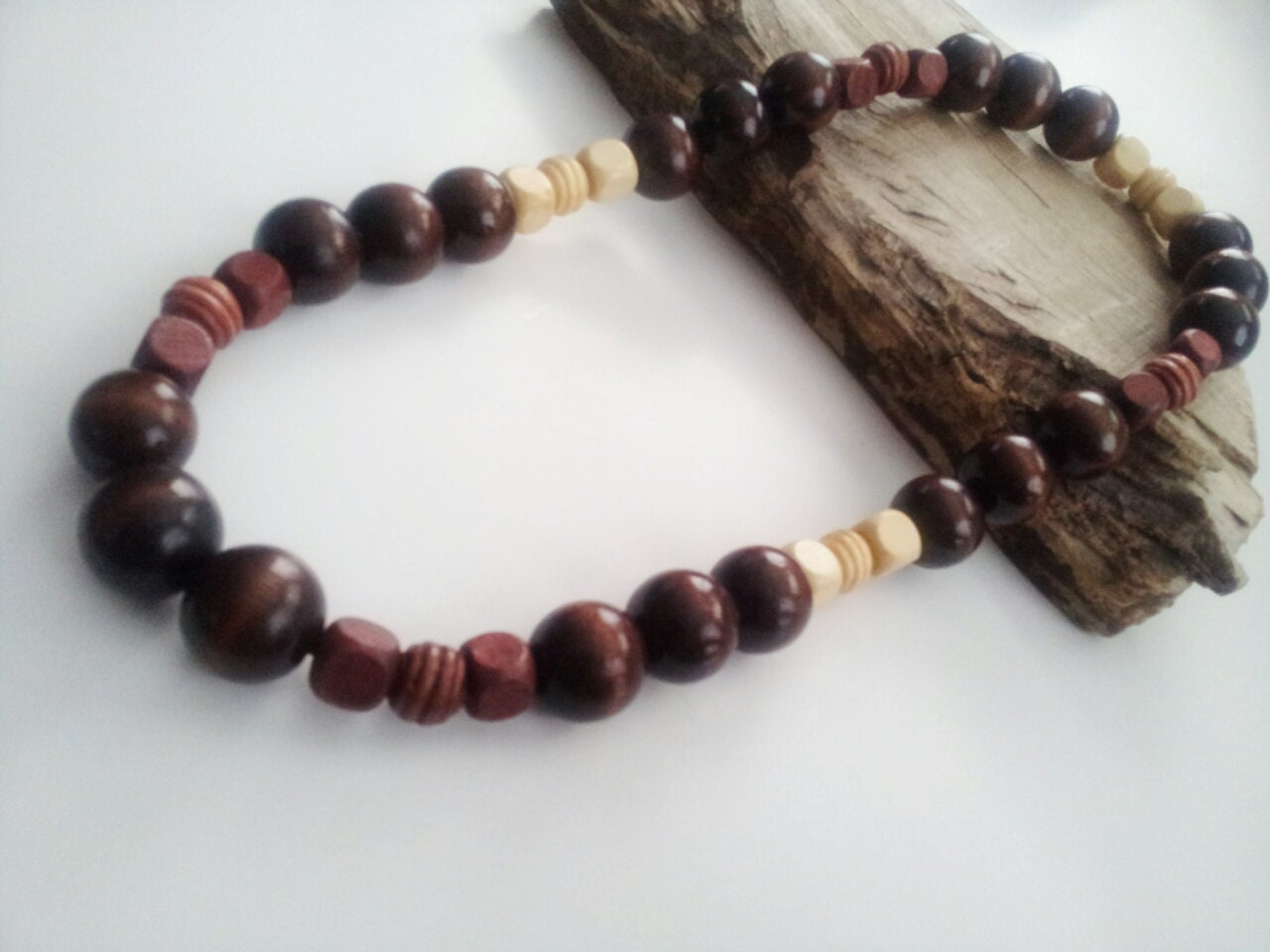 mens wood bead necklace the waseyu necklace no 12