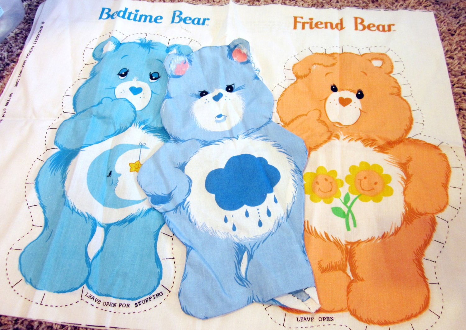Vintage Care Bears Fabric Panels Bedtime Bear by NostalgiaMama