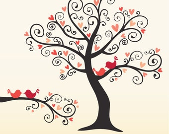 Love Birds on a Love Tree - in Coral Pink - digital clip art