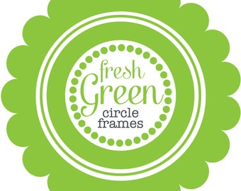 Circle Frames in Fresh Green - Digital Clip Art