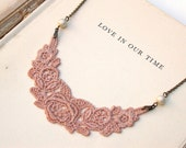 Antique Blush Lace  Sweet Necklace Perfect for Bride, Wedding, Bridesmaids And Formal