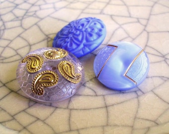 Czech Glass Buttons - Periwinkle Paisley - Button Set - 3 Buttons