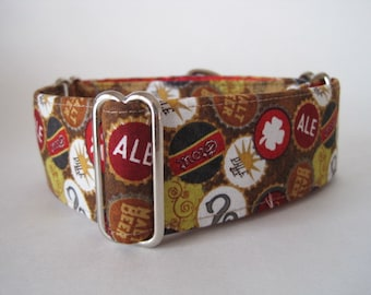 Beer Martingale Dog Collar, 2 Inch Martingale Collar, Greyhound Martingale Collar, Beer Dog Collar, Custom Dog Collar, Made in Canada