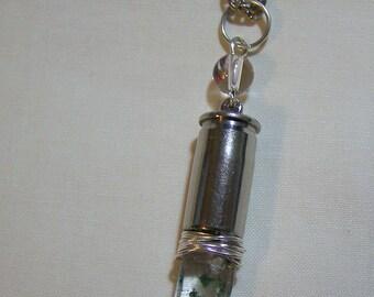 Green Phantom Quartz Crystal Bullet Jewelry Pendant