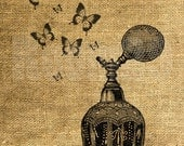 INSTANT DOWNLOAD Vintage Perfume Bottle and Butterflies - Iron On Transfer - Scrapbooking - Digital Sheet by Room29 - Sheet no. 858