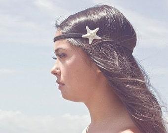 White Starfish Headband Mermaid Hair Accessories Nautical Beachy Beach Boho Bohemian Hippie Hipster Ariel Costume Unique Womens Gift Summer