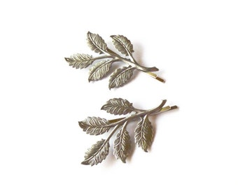 50% OFF SALE Silver Leaf Bobby Pins Bridal Hair Clips Branch Bridesmaids Garden Rustic Wedding Accessories Womens Gift For Her Autumn Fall
