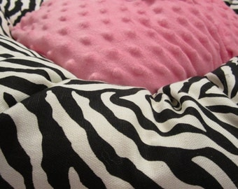 the TABITHA TUTU Donut DOG Bed- Zebra & Hot Pink Small, Medium, Large