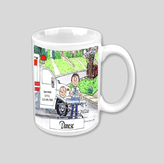 Personalized 11 oz Mug EMT or Paramedic Female