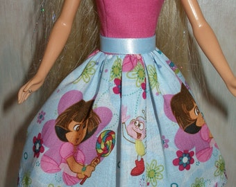 "Handmade 11.5"" fashion doll clothes - Pink and blue Dora dress"