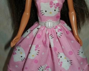 Handmade Barbie doll clothes - pink and white kitty dress