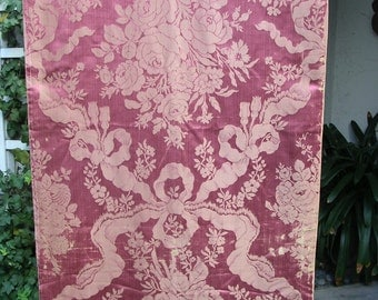 Antique French Silk Damask Drapery Panel in Dusty Wine Color with Classical Design