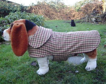 Brown and Burgundy Wool Plaid Dog Coat- Size Medium- 16-18 Inch Back Length