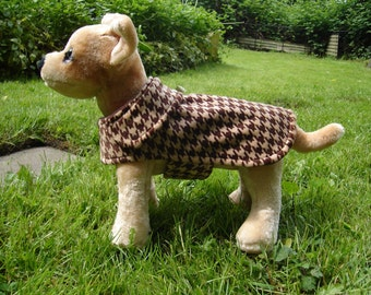 Brown and Tan Houndstooth Velour Coat- Size XX Small- 8 to 10 Inch Back Length