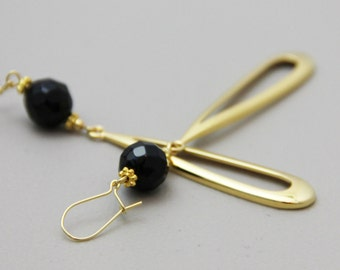 Elongated Gold - Elegant Faceted Black Onyx Natural Stone Long Gold Plated Drop Dangle Earrings - Long Big Lightweight Earring