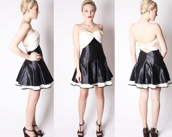 Black and White Short Strapless Open Back Prom Dress / Prom Dresses / Short Prom Dress / Black and White Cocktail Dress / 1983