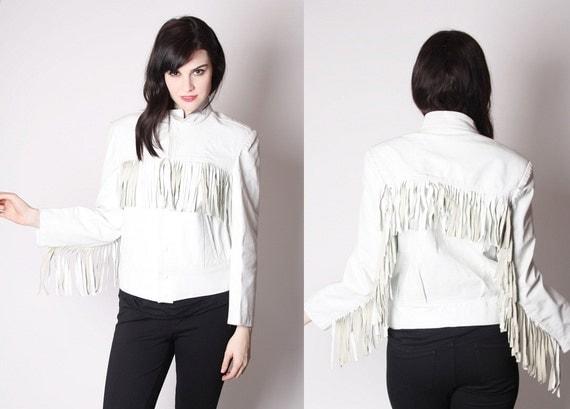 Vintage White Fringe Leather 80s Jacket / White Leather Fringe